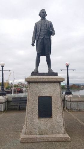 Captain Cook keeping watch on the Victoria traffic. Photo by Captain Ray Penson
