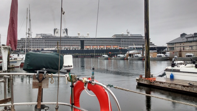 Cruise ship Noordam entering a damp Ketchikan at six in the morning. Photo Ray Penson