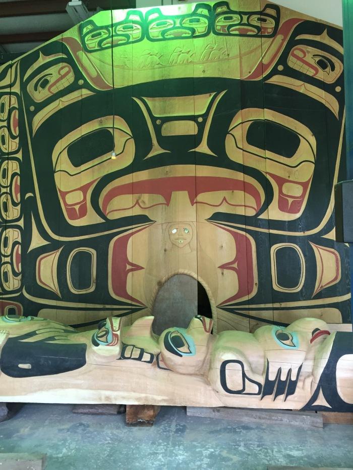Tlingit traditional wood carving. Hoonah, Alaska.