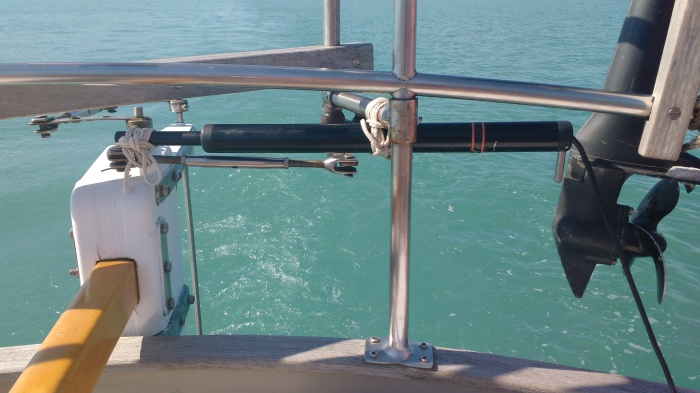 Tiller Drive Ram Connected to Rudder Trim Tab