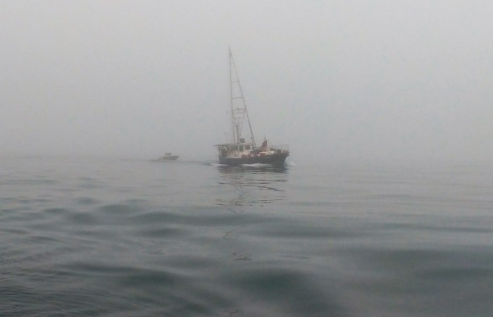 Boat appears out of fog Ray Penson