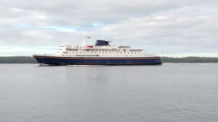 Columbia heading up Seaforth Channel.Ray Penson