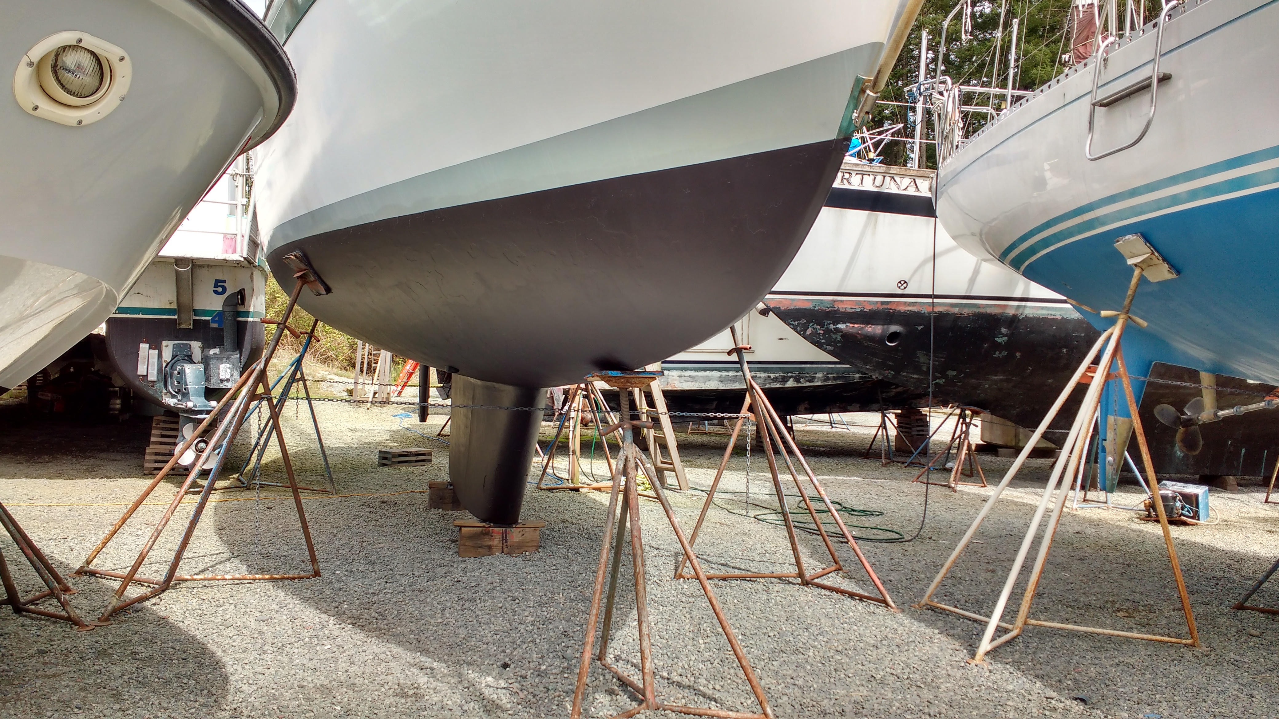 Antifouling finished, ready for launching. Yacht Truce
