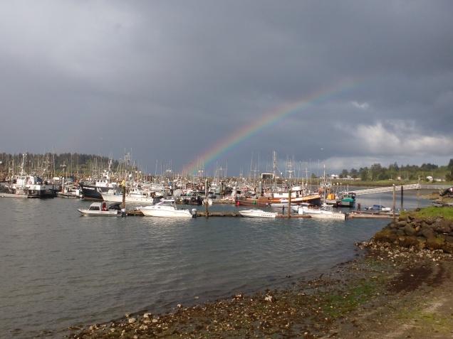 Rainbow over Neah Bay Marina. Photo Ray Penson