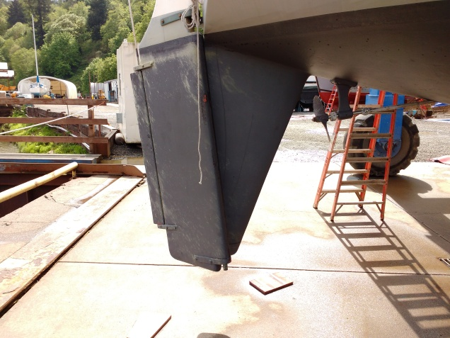 Rudder Unshipped and Hung Off