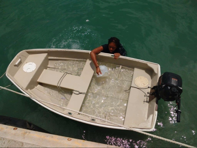 Jessica bailing a full boat load of water