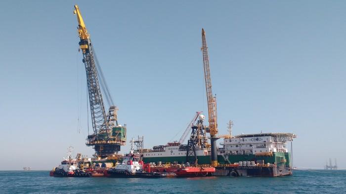 Work Barge Offshore Saudi Arabia. Photo Ray Penson. Sailing Yacht Truce.