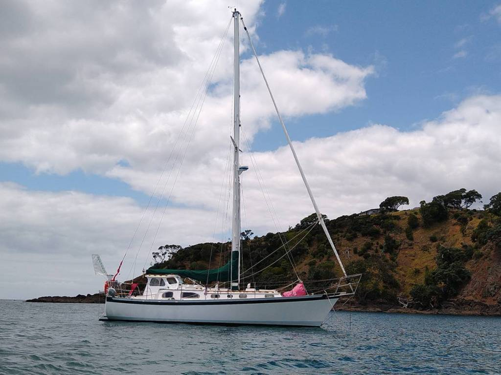 Truce anchored in Tutakaka Harbour. Photo, Ray Penson
