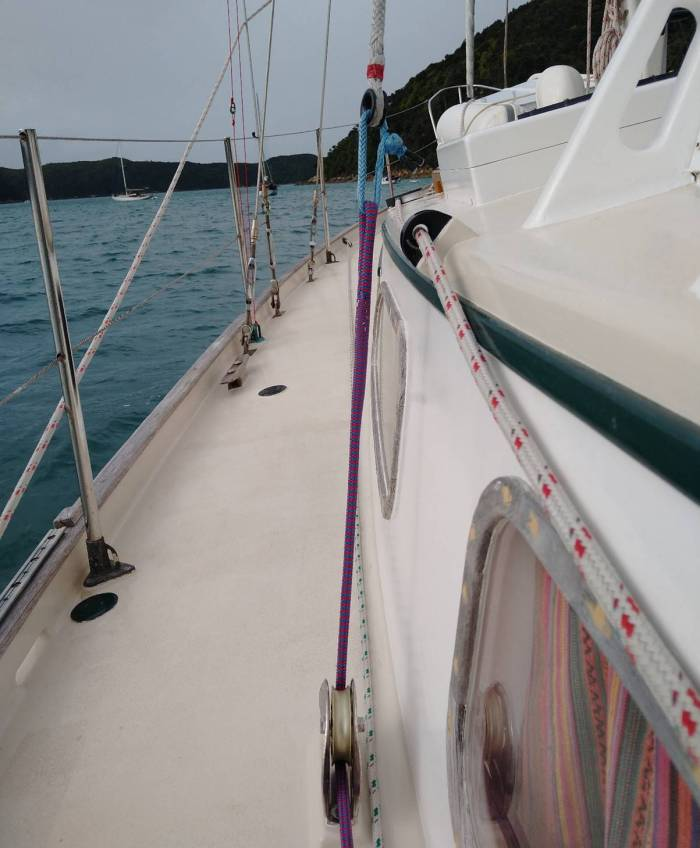 Soft Shackle attachment, rope tail to running backstay. Photo Ray Penson