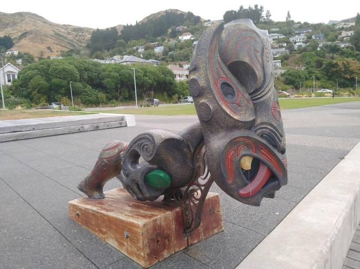 Wooden Carving watching over Te Ana Marina Photo Ray Penson