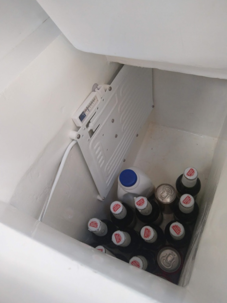 Fridge working and cold beer, luxury for upcoming 2021 Cruise. Photo Ray Penson