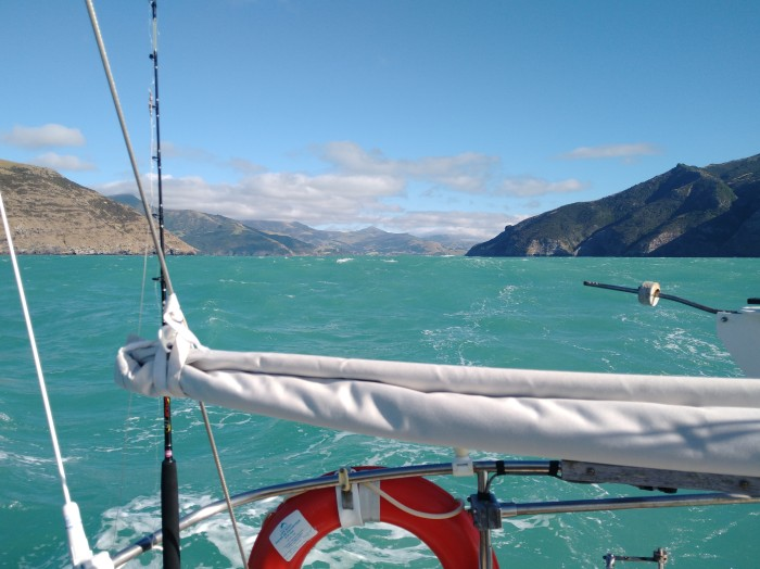 Departing Akaroa in good breeze. Photo Ray Penson