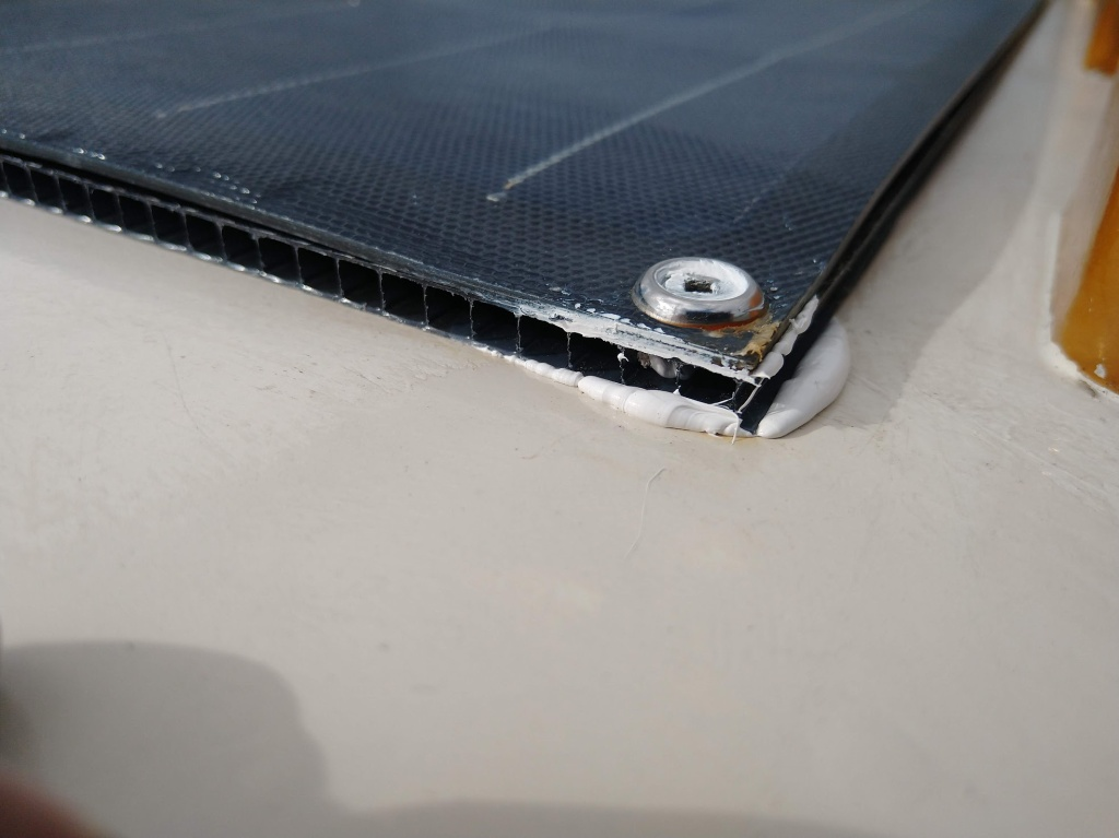 Twinwall mounted on coachroof with solar panel on top. Photo Ray Penson